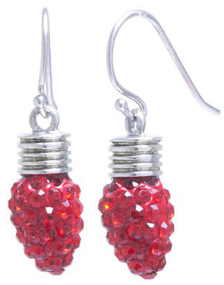 SPARKLE ALLURE Sparkle Allure Red Crystal Tree Bulb Silver Over Brass Drop Earrings