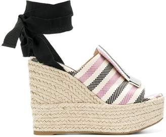 Sergio Rossi striped ankle tie sandals