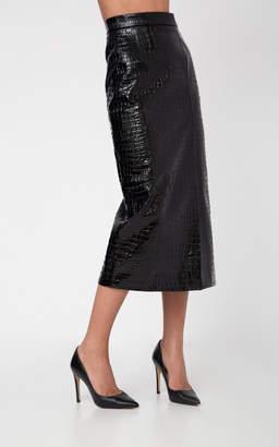 Aleksandre Akhalkatsishvili Crocodile Textured Slit Pencil Skirt