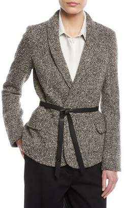 Loro Piana Shawl-Collar Herringbone Jacket w/ Wrap Belt