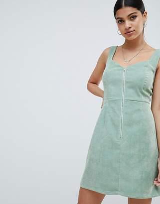 Missguided Cord Zip Detail Mini Dress