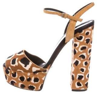 Gucci Pony Hair Platform Sandals