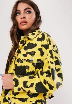 Missguided Yellow Leopard Print Cropped Denim Jacket, Yellow