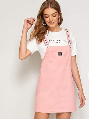 Shein Letter Patched Pocket Pinafore Dress