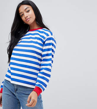 Asos DESIGN Petite t-shirt with long sleeve in stripe with contrast collar and cuffs
