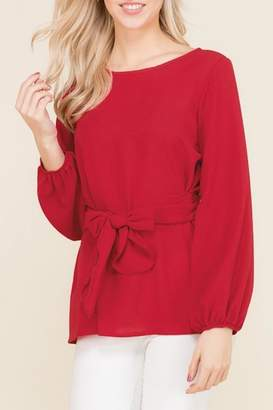 2 Hearts Bow Red Blouse