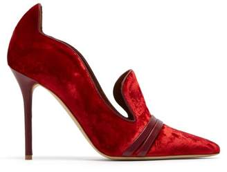 Halle Wave Collar Velvet Point Toe Pumps - Womens - Red
