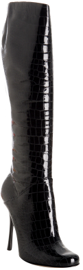 Giuseppe Zanotti black croc embossed patent stiletto boots