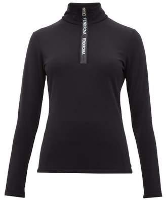 Fendi Roma Half Zip Stretch Jersey Top - Womens - Black