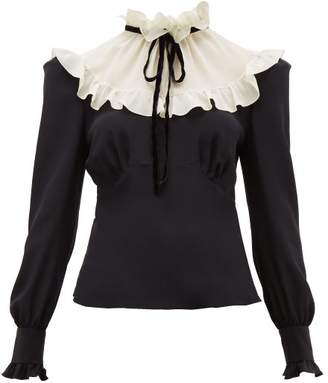Alessandra Rich Ruffled Collar Silk Blouse - Womens - Black White