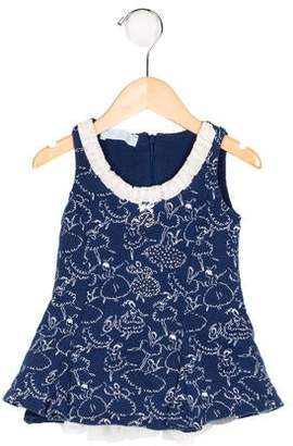 Blumarine Girls' Printed Embellished Dress