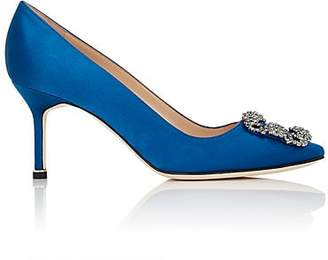 Manolo Blahnik Women's Hangisi Satin Pumps - Blue Satin