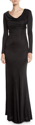 Roberto Cavalli Long-Sleeve Cowl-Neck Harness-Back Jersey Gown