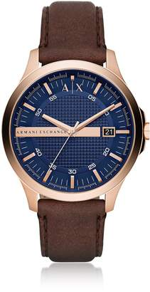 Armani Collezioni Armani Exchange Hampton Rose Gold Tone With Brown Leather Men's Watch