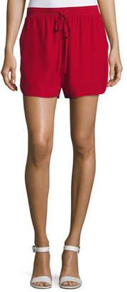 Robert Rodriguez Relaxed Low-Rise Drawstring Silk Shorts, Crimson