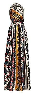 Oscar de la Renta Women's Asymmetric Halterneck Patchwork Gown