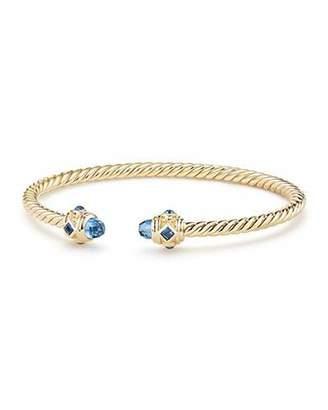 David Yurman 18k Gold Renaissance CableSpira Bangle Bracelet w/ Hampton Blue Topaz, Size M