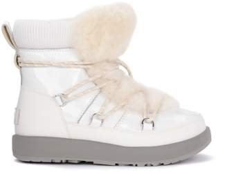 UGG Highland White Leather, Rubber And Sheepskin Ankle Boots.
