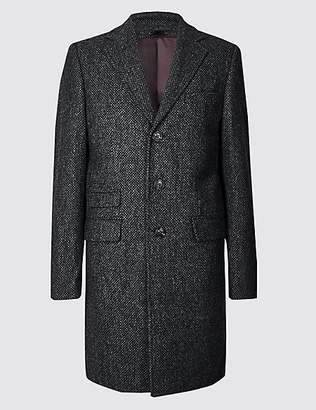 M&S Collection Luxury Pure Wool Textured Overcoat