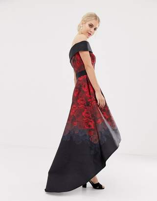 456a2664c7aa Chi Chi London satin midi dress with extreme high low in dark rose print