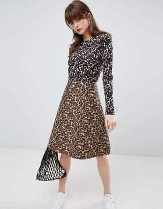 Mads Norgaard Skirt in Denim Leopard