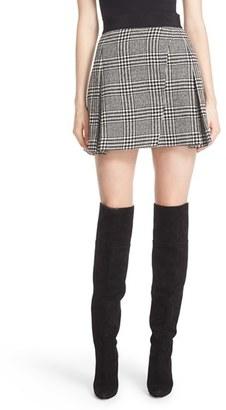 Alice + Olivia 'Cindie' Plaid Faux Wrap Pleated Miniskirt $330 thestylecure.com