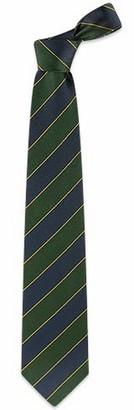 Forzieri Navy Blue & Green Bands Woven Silk Tie
