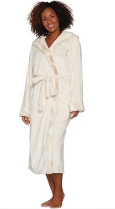 Dennis Basso Plush Robe w  Faux Fur Trim   Monogram Initial 87ed034a0