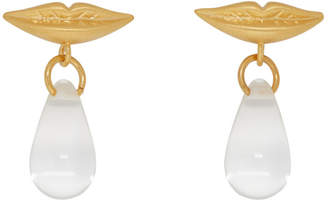 ALEXACHUNG Gold Lip Drop Earrings