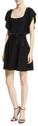 RED Valentino Square-Neck Ruffle-Sleeve Knit Dress