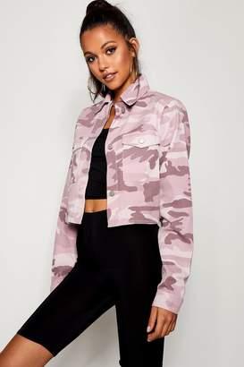 boohoo Tall Pink Camo Crop Denim Jacket