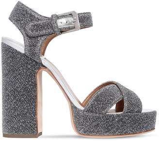 Laurence Dacade 120mm Rosange Glitter Fabric Sandals