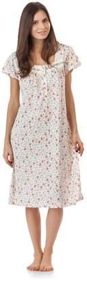 Casual Nights Women's Polka Dot Lace Short Sleeve Nightgown - Green