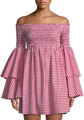 Caroline Constas Appolonia Off-The-Shoulder Bell-Sleeve Gingham Dress