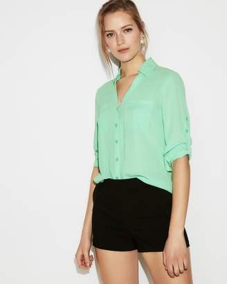Express Slim Fit Convertible Sleeve Portofino Shirt