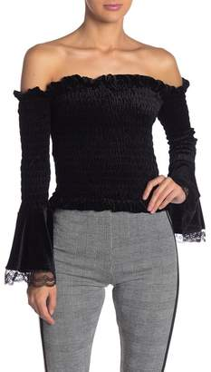 Gracia Off-the-Shoulder Smocked Velvet Bell Sleeve Top