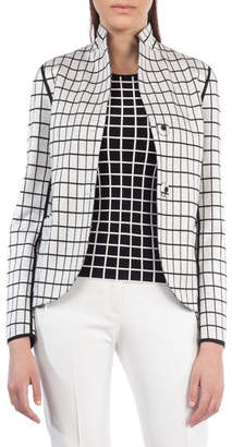 Akris Punto Dot-Press Stand-Collar Reversible Grid Pattern Blazer