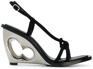 Alexander McQueen structured heel sling back sandals