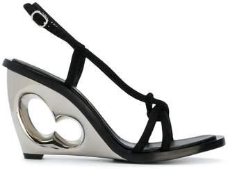 Alexander McQueen structured heel sling back sandals