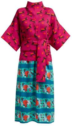 Helena Rianna + Nina Neoprene And Silk Dress - Womens - Pink Multi