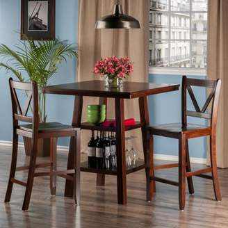 Winsome Orlando 3-Pc Set High Table, 2 Shelves w/ 2 V-Back Counter Stools