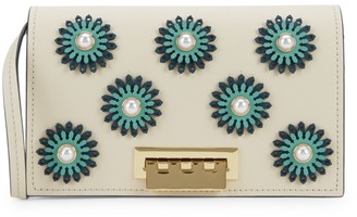 Zac Posen Faux-Pearl & Floral Embellished Leather Crossbody Bag