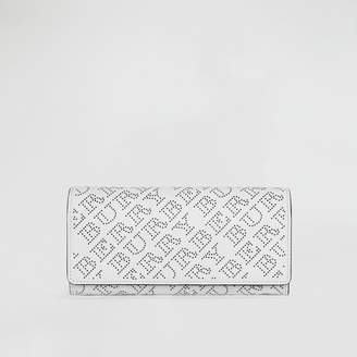 Burberry Perforated Logo Leather Continental Wallet