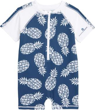 Snapper Rock Denim Pineapple One-Piece Rashguard Swimsuit