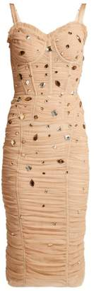 Dolce & Gabbana - Crystal Embellished Tulle Midi Dress - Womens - Beige