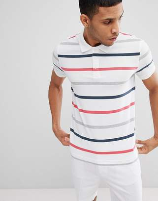 Benetton Polo in White With 3 Colours Stripe