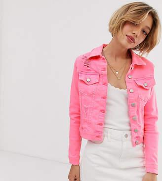 Parisian Petite denim jacket in neon pink