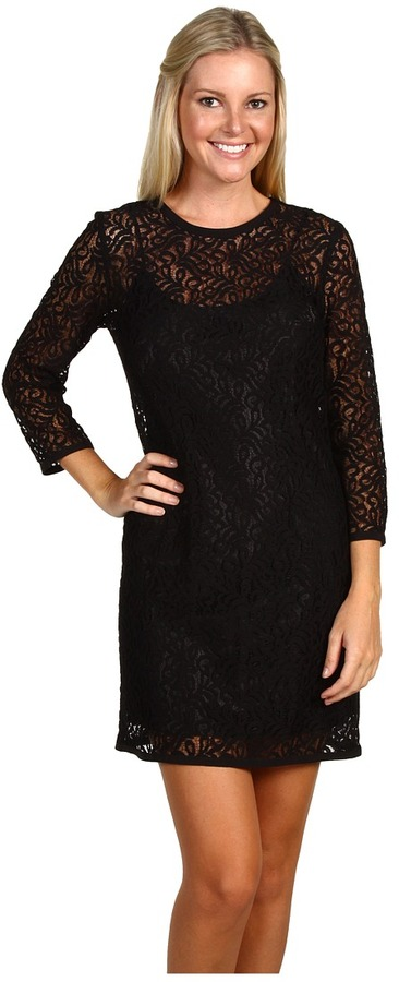 Laundry by Shelli Segal - Lace Sheath W/ Grostrain Trim (Black) - Apparel