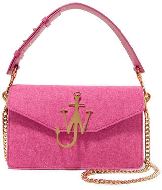 J.W.Anderson Logo Felt And Leather Shoulder Bag - Pink