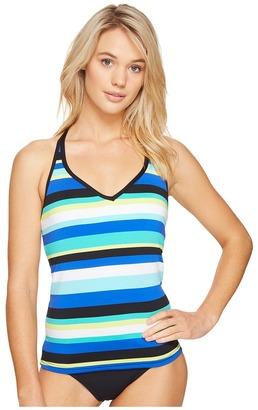 Jantzen - Jantzen Sport Retro Stripe Crisscross Back Tankini Women's Swimwear $76 thestylecure.com